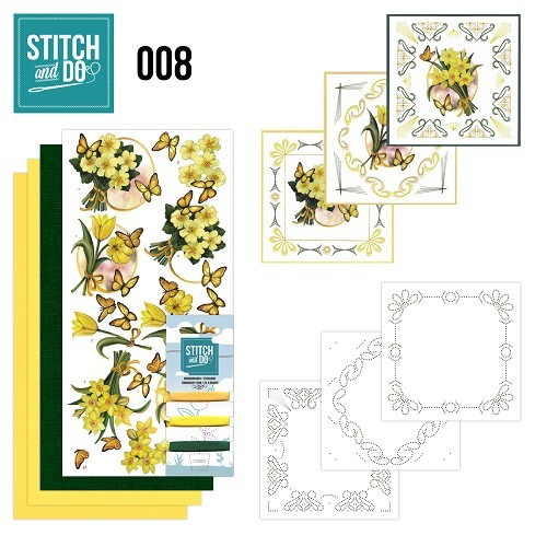 Stitch and Do nr. 8  Gele bloemen