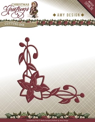 Die van Amy Design - Christmas Greetings - Poinsettia Corner