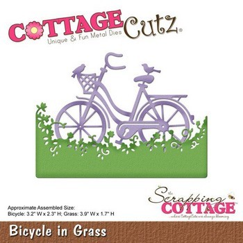 CottageCutz stencil Fiets in gras