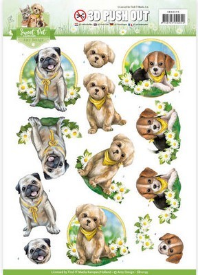 3D Push-out vel - Amy Design - Sweet Pets - Dogs (honden)