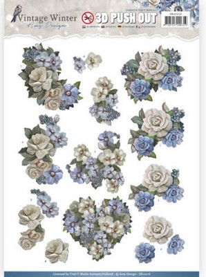 Push-out 3D vel - Amy Design - Vintage Winter - Winterbloemen