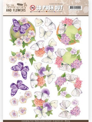 3D Push-out - Jeanine`s Art - Butterflies & Flowers - White Butterflies