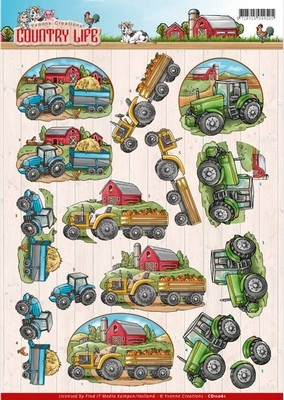 3d Knipvel - Yvonne Creations - Country Life - Tractors
