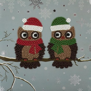"Crystal Card Kit - 18 x 18 cm - ""Christmas Owls""- Kerstuiltjes"