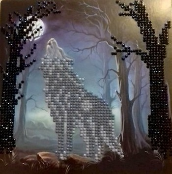 Crystal Card Kit - 18 x 18 cm - `Howling Wolf`- Huilende Wolf