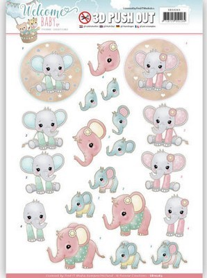 Push-out vel - Yvonne Creations - Welcome Baby - Little Elephants