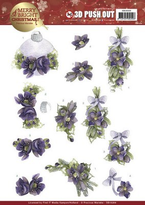 Pushout vel - Precious Marieke - Merry Bright Christmas - Bouquets in purple