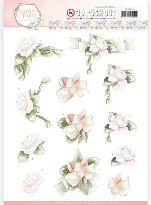 3D Push-out Precious Marieke - Flowers in Pastels - Believe in Pink
