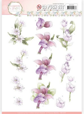 3D Push-out Precious Marieke - Flowers in Pastels - Blue Dreams