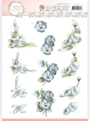 3D Push-out Precious Marieke - Flowers in Pastels - True Blue
