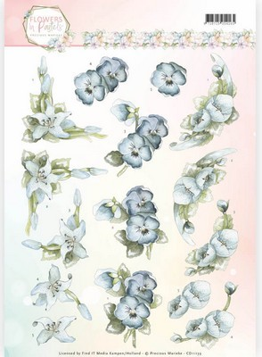 3D Knipvel Precious Marieke - Flowers in Pastels - True Blue