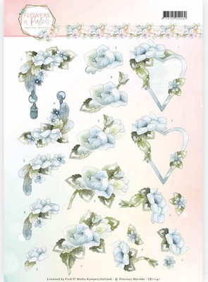 3D Knipvel Precious Marieke - Flowers in Pastels - Blue Dreams