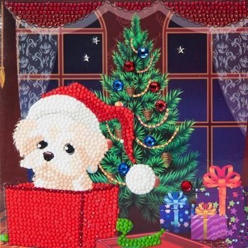 "Crystal Card Kit - 18 x 18 cm - ""Puppy for Christmas""- Puppy voor Kerst"