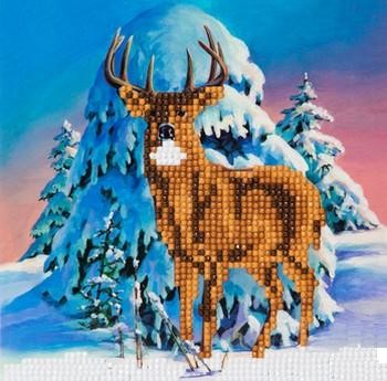 "Crystal Card Kit - 18 x 18 cm - ""Winter Stag""- Winter Hert"