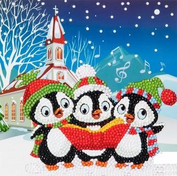"Crystal Card Kit - 18 x 18 cm - ""Penguin Xmas Carols""- Pinguins Kerst Carols"