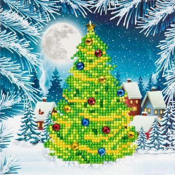 "Crystal Card Kit - 18 x 18 cm - ""Christmas Tree""- Kerstboom"