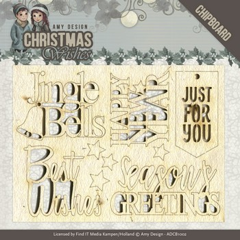 Chipboard - Amy Design - Christmas Wishes - Tekst