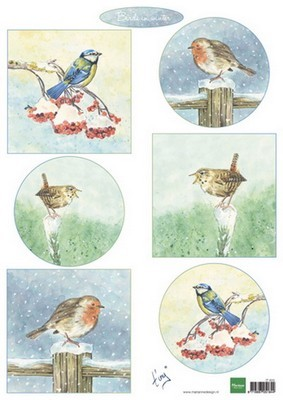 Marianne D. decoupage Tiny`s vogels in de winter