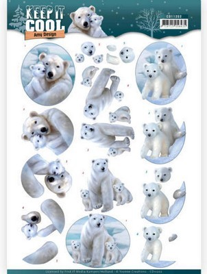 3D Knipvel Amy Design - Keep it Cool - Cool Polar Bears