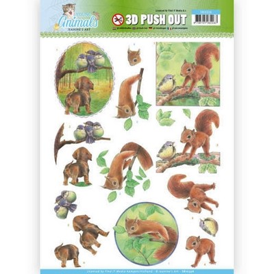 3D Pushout Jeanine`s Art - Young Animals - In the Forest