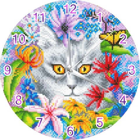 Crystal Art Clock - Clever Cat