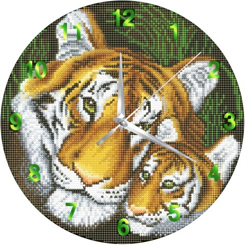 Crystal Art Clock - Mother Tiger & Cub
