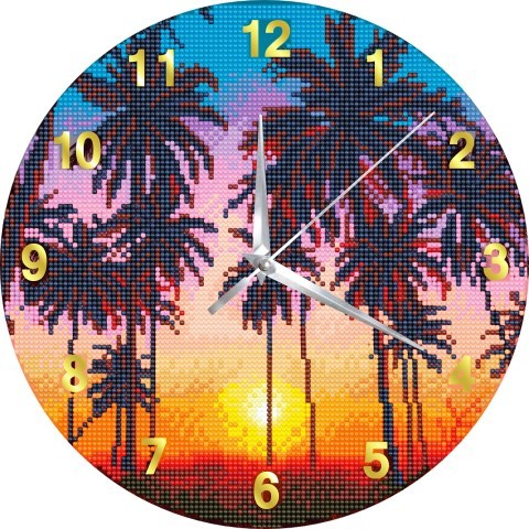 Crystal Art Clock - Sunset Palms