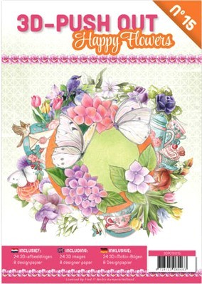 3D Push-out Boek # 15 - Happy Flowers