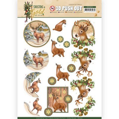 3d Push-out Amy Design - Christmas in Gold - Deers in Gold