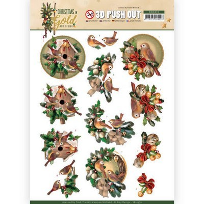 3d Push-out Amy Design - Christmas in Gold - Birds in Gold