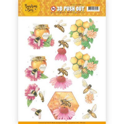 3D Pushout - Jeanine's Art - Buzzing Bees - Honey Bees