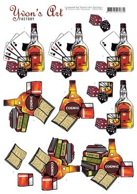 3D Knipvel Yvon's Art  -  Cognac and Whiskey