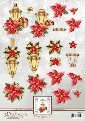 3D Knipvel Ann's Paper Art - Lantern with Poinsettia
