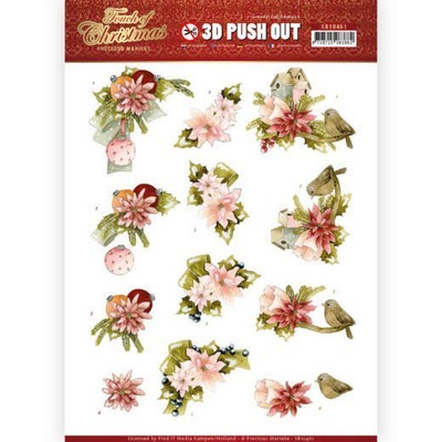 Push-out - Precious Marieke - Touch of Christmas - Pink Flowers