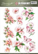 3D Push-out vel Jeanine With Sympathy - Pink Flowers