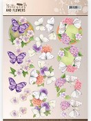 3D knipvel - Jeanine`s Art - Butterflies & Flowers - Purple Flowers