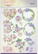 3D knipvel - Jeanine`s Art - Vintage Flowers - Romantic Purple