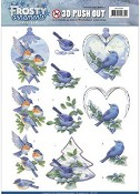 Push-out vel Jeanine`s Art - Frosty Ornaments - Blue Birds