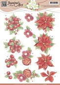 3D knipvel Jeanine`s Art - Red Christmas Flowers